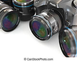 photographie, numérique, equipment., appareil-photo slr, lens.