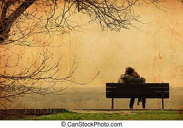 photographie, romantique, vendange, couple, -, banc