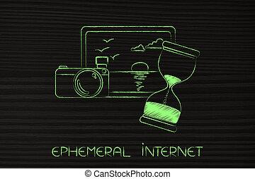 photographie, sablier, éphémère, suivant, cameran, internet