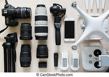 photographie, sommet, collection, lentille, équipement, bourdon, appareil photo, caméscope, vue