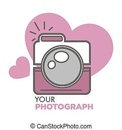 photographie, vieux, photo, école, appareil photo, cœurs, ton