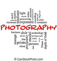 photographie, wort, wolke, begriff, schwarz rot