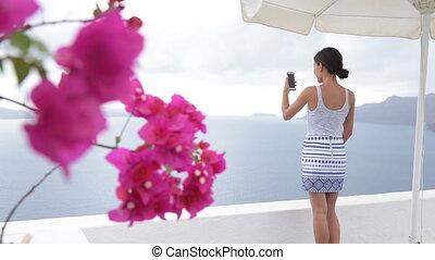 photographier, touriste, utilisation, voyage vacances, téléphone, santorini