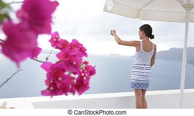 photographier, utilisation, voyage vacances, téléphoner femme, santorini