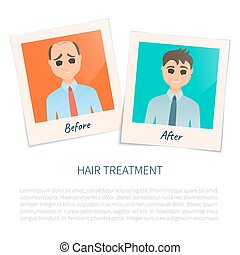photographies, après, cheveux, traitement, homme, avant