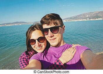 photographies, autoportrait, couple, plage, prendre, aimer