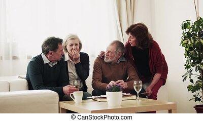 photographies, couples, deux, regarder, personne agee, home.