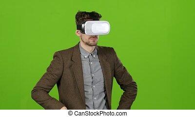 photographies, garçon, écran, virtuel, vert, regarde, imaginaire, smiles., lunettes