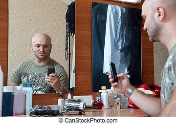 photographies, homme, elle-même, miroir