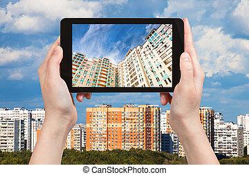 photographies, image, appartement, tablette, maisons