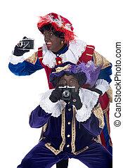 photographies, sien, prendre, collègue, zwarte, piet