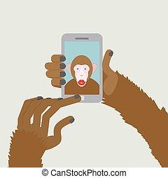 photographies, smartphone, singe, selfie., déclics, vecteur, themselves., animal, africaine, fingers., marques, ton, illustration.