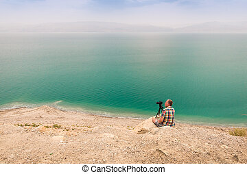 Photographing at Dead Sea coast, Israel