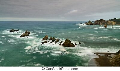 photographing cliffs in Asturias
