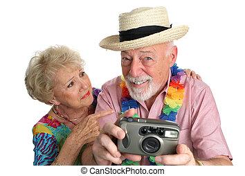 photographing, flickor, på, strand