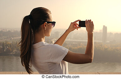 photographing girl - beautiful girl photographing city