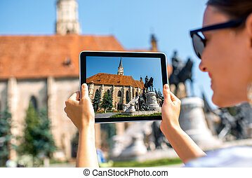 Photographing Michael's church in Cluj Napoca.