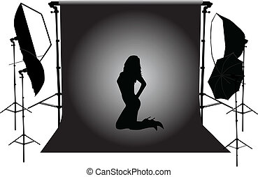photographique, modèle, studio