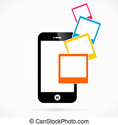 Photographs mobile phone applications vector illustration