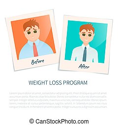Photographs of a man before and after weight loss