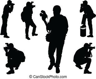 illustration of photographers - vector