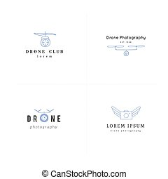 photography., 航空写真, カメラ, コレクション, 手, ベクトル, ロゴ, 引かれる, drones...