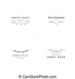 photography., 航空写真, カメラ, コレクション, 手, ベクトル, 引かれる, ロゴ, drones...