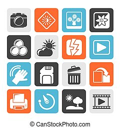 Photography and Camera Icons - Silhouette Photography and...