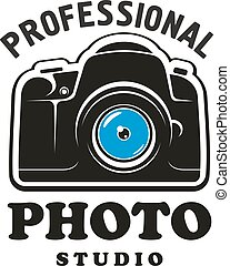 Photography and photo studio symbol, emblem design