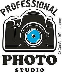 Photography and photo studio symbol, emblem design