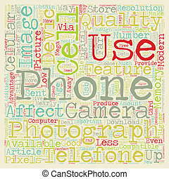 Photography And The Cell Phone text background wordcloud...