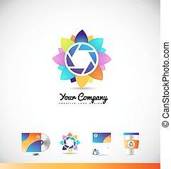 Photography aperture shutter logo