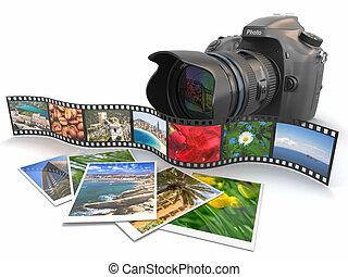 photography., appareil-photo slr, pellicule, et, photos.