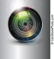 Photography background,  camera photo lens with flare.