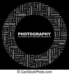 PHOTOGRAPHY. Background concept wordcloud illustration. ...