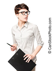photography business woman with a folder on a white background in studio