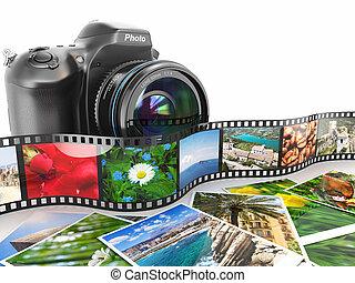 photography., câmera slr, película, e, photos.