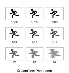Photography cheat sheet in icons, Shutter Speed. Vector...