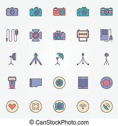 Photography colorful icons set