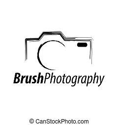 photography., concept, résumé, illustration, appareil photo, conception, brosse, gabarit, logo, icône