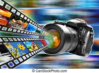 Photography, digital imaging and image sharing technology concept