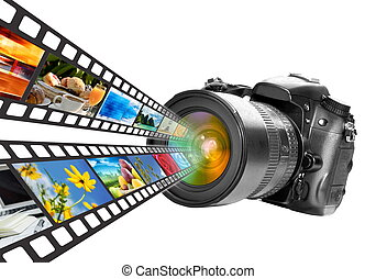 Digital Photography technology concept. Isolated in White