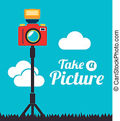 Photography design over landscape background, vector illustration