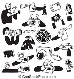 photography doodles - photography - set vector icons in...