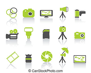 photography element icon, green series - isolated green ...
