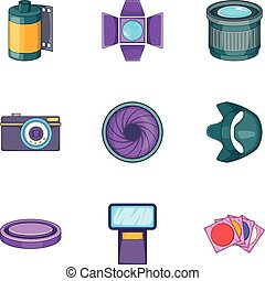 Photography equipment icons set, cartoon style