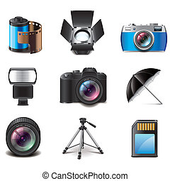 Photography equipment icons vector set - Photography...