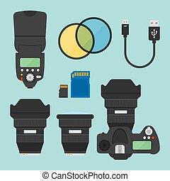 Photography equipments vector flat design elements -...