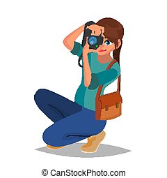 photography., frau, kamera., wohnung, fotograf, equipment., freigestellt, abbildung, studio, vector., foto, karikatur, zeichen