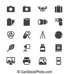 Photography glyph icons - Simple vector icons. Clear and...